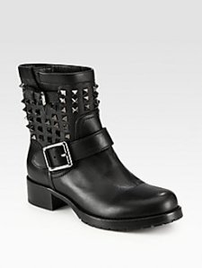 $1495, Valentino Noir Studded Leather Biker Boots $1495